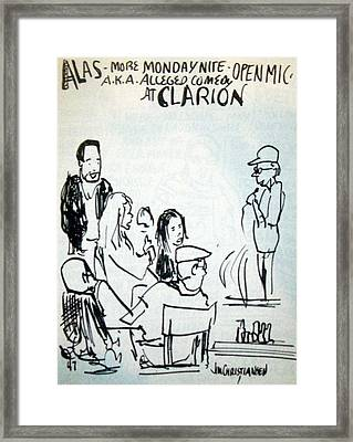 Alleged Comedy At Clarion Modesto  Framed Print by James Christiansen