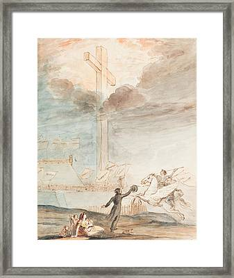 Allegory   Knowledge Versus Orthodox Religion Framed Print by Auguste Hervieu