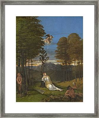 Allegory Of Chastity, C. 1505 Oil On Panel Framed Print by Lorenzo Lotto