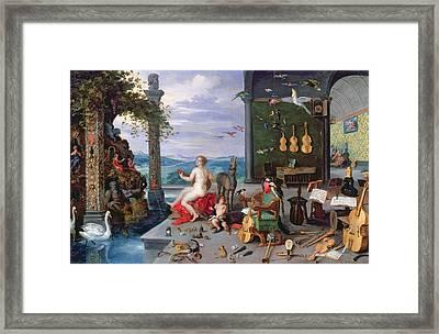 Allegory Of Music Oil On Canvas Framed Print by Jan the Elder Brueghel