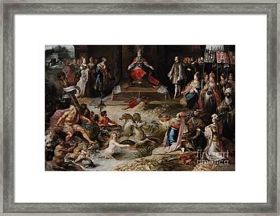 Allegory Of The Abdication Of Emperor Charles V In Brussels, C.1630-1640, By Frans Francken Framed Print by Bridgeman Images