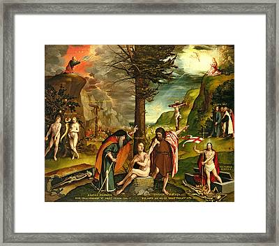 Allegory Of The Old And New Testaments, Early 1530s Oil On Panel Framed Print by Hans Holbein the Younger