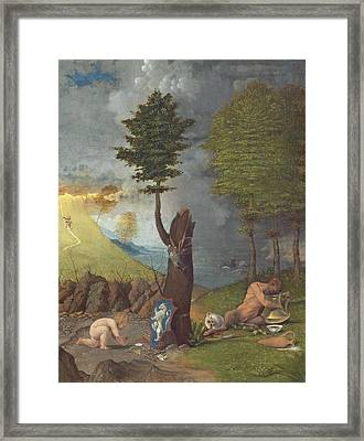 Allegory Of Virtue And Vice, 1505 Oil On Panel Framed Print