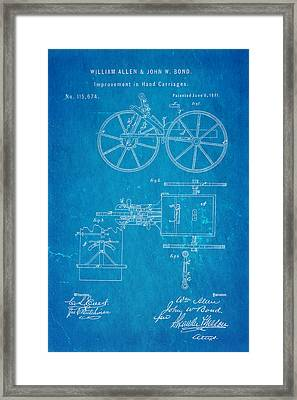 Allen And Bond Hand Carriage Patent Art 1871 Blueprint Framed Print by Ian Monk