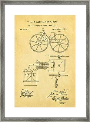 Allen And Bond Hand Carriage Patent Art 1871 Framed Print by Ian Monk