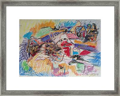 Framed Print featuring the drawing Allenby Abstract by Esther Newman-Cohen