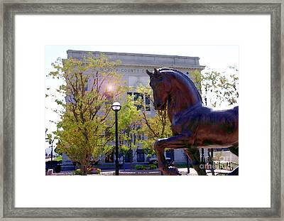 Allentown Pa Old Lehigh County Courthouse And Davinci I Horse  Framed Print