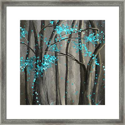 Alleviation- Gray And Turquoise Art Framed Print