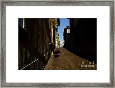 Alley And Mountain Framed Print
