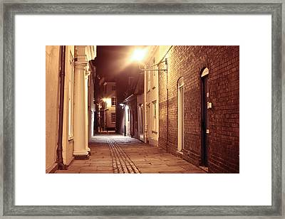 Alley At Night Framed Print by Tom Gowanlock