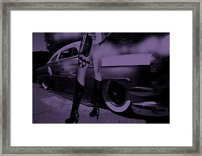 Alley Cat Car Trouble Violet Framed Print