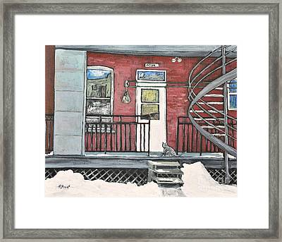 Alley Cat In Verdun Framed Print by Reb Frost