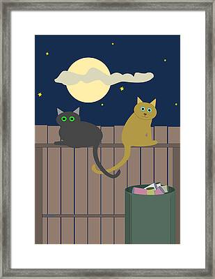 Alley Cats On A Fence Framed Print