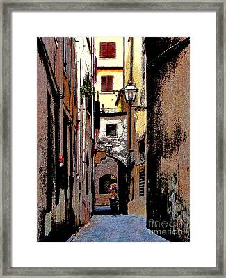 Framed Print featuring the digital art Alley In Florence 2 Digitized by Jennie Breeze