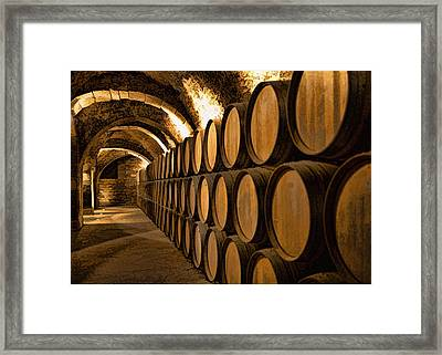 Alley Of Barrels At The Winery Framed Print