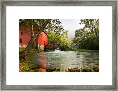 Alley Spring Grist Mill Waterfall And Lake Framed Print by Gregory Ballos