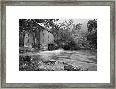 Alley Spring Mill - Black And White Framed Print by Gregory Ballos