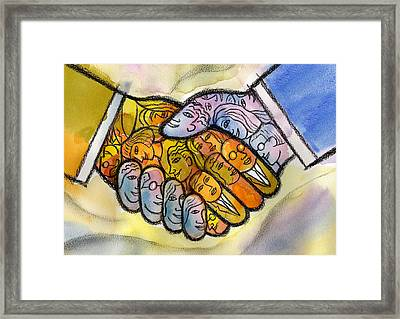 Corporate Merger Framed Print by Leon Zernitsky