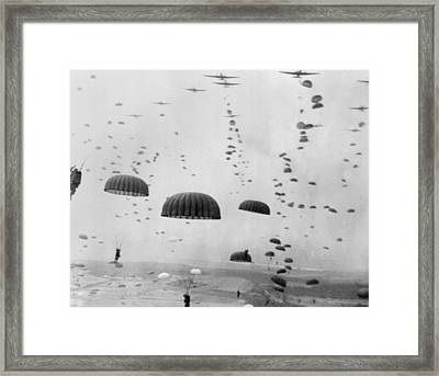 Allied Aircraft Drop Paratroopers Framed Print