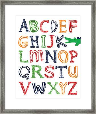 Alligator Abc Poster Framed Print by Jaime Friedman