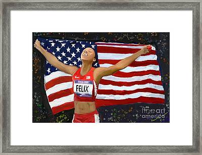 Framed Print featuring the digital art Allison Felix Olympian Gold Metalist by Vannetta Ferguson