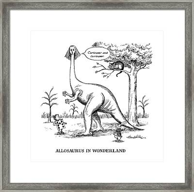 Allosaurus In Wonderland Framed Print by J.B. Handelsman