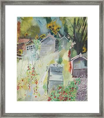 Allotment, Bishops Park, 2009 Oil On Canvas Framed Print by Sophia Elliot