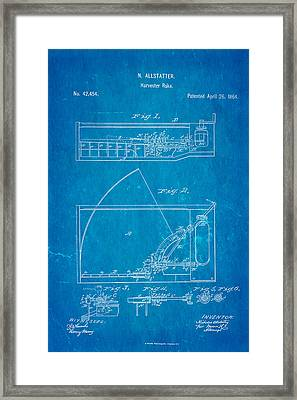 Allstatter Harvester Rake Patent Art 1864 Blueprint Framed Print by Ian Monk