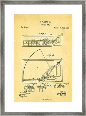 Allstatter Harvester Rake Patent Art 1864 Framed Print by Ian Monk