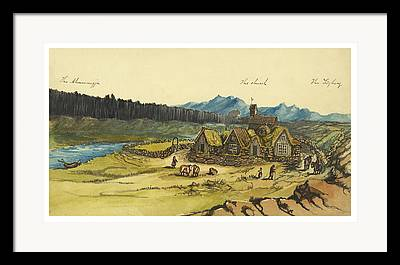 Landscape. Scenic Drawings Framed Prints
