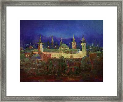 Almasjed Alamawe At Night - Damascus - Syria Framed Print