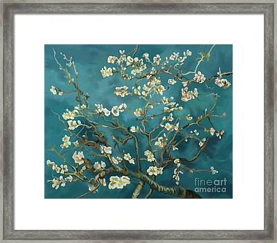 Framed Print featuring the painting Almond Blossoms' Reproduction by Tim Gilliland