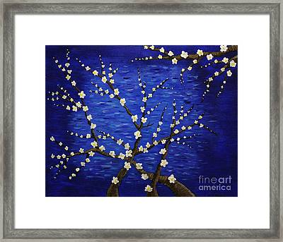Almond Branches In Bloom Framed Print by Vicki Maheu