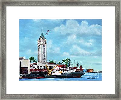 Aloha Tower Framed Print