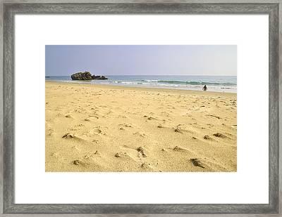 Alone At Bolonia Beach Framed Print