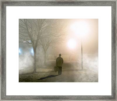 Alone In The Fog In Galway Framed Print by Mark E Tisdale