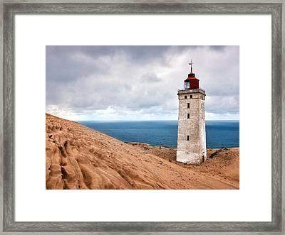 Lighthouse On The Sand Hils Framed Print