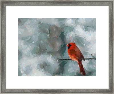 Alone Red Bird Framed Print