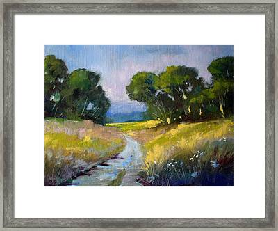Along A Country Road Framed Print by Nancy Merkle