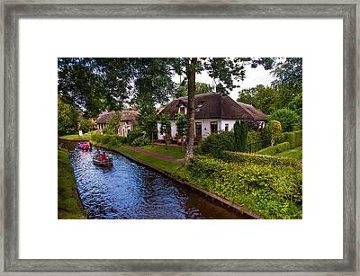 Along The Canal. Giethoorn. Netherland Framed Print by Jenny Rainbow