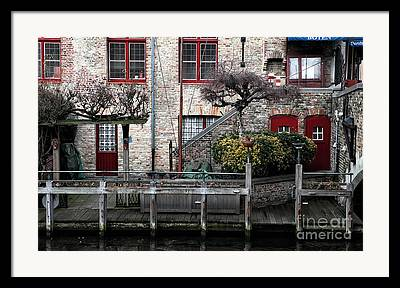 Buildings Along The Dock Framed Prints