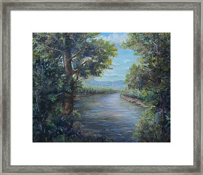 Framed Print featuring the painting Along The Canal New Hope by  Luczay