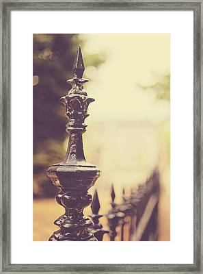 Along The Fence Framed Print by Heather Green