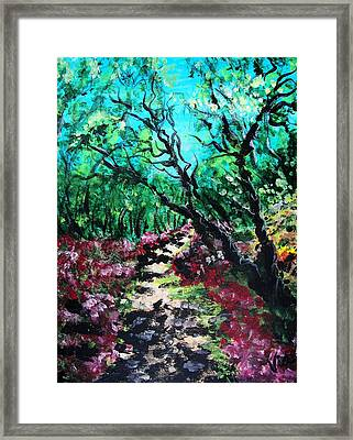 Framed Print featuring the painting Along The Path by Judy Via-Wolff