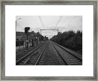 Along The Railroad In Black And White Framed Print