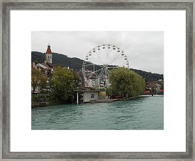 Along The River In Thun Framed Print
