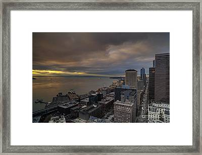 Along The Seattle Waterfront Framed Print by Mike Reid