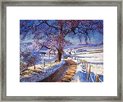 Along The Snow Lined Road Framed Print by David Lloyd Glover