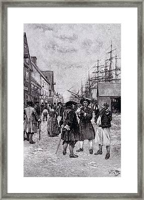 Along The Water Front In Old New York, Illustration From The Evolution Of New York By Thomas A Framed Print by Howard Pyle