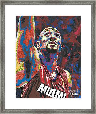 Alonzo Mourning Framed Print by Maria Arango